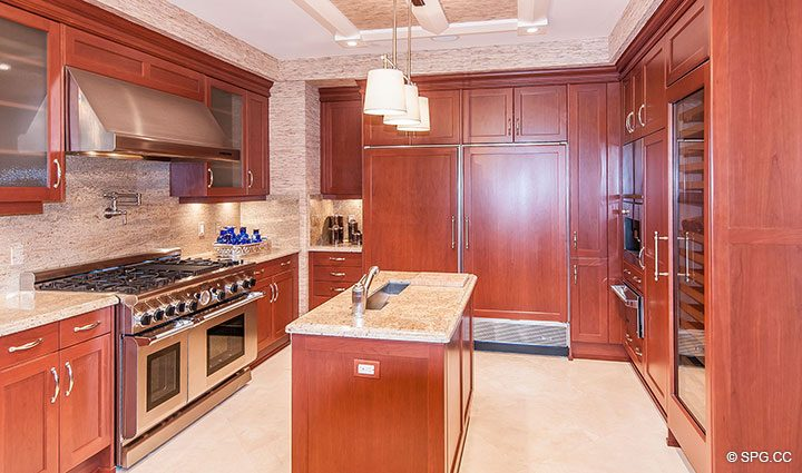 Gourmet Kitchen in Residence 406 at Bellaria, Luxury Oceanfront Condominiums in Palm Beach, Florida 33480.