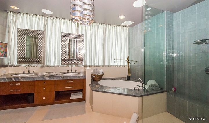 Master Bathroom inside Residence 501 For Sale at 1000 Ocean, Luxury Oceanfront Condos in Boca Raton, Florida 33432.