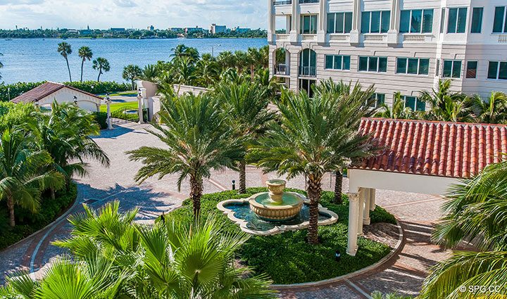 Grounds View from Residence 406 at Bellaria, Luxury Oceanfront Condominiums in Palm Beach, Florida 33480.