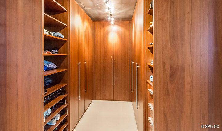 Master Wardrobe inside Residence 501 For Sale at 1000 Ocean, Luxury Oceanfront Condos in Boca Raton, Florida 33432.