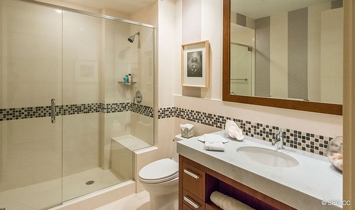 Guest Bath inside Residence 501 For Sale at 1000 Ocean, Luxury Oceanfront Condos in Boca Raton, Florida 33432.