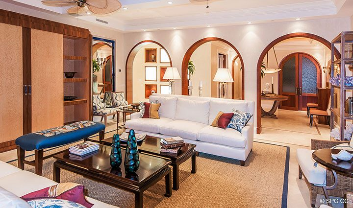 Living Room inside Residence 406 at Bellaria, Luxury Oceanfront Condominiums in Palm Beach, Florida 33480.