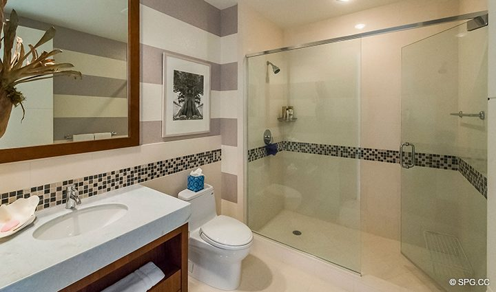Guest Bathroom inside Residence 501 For Sale at 1000 Ocean, Luxury Oceanfront Condos in Boca Raton, Florida 33432.