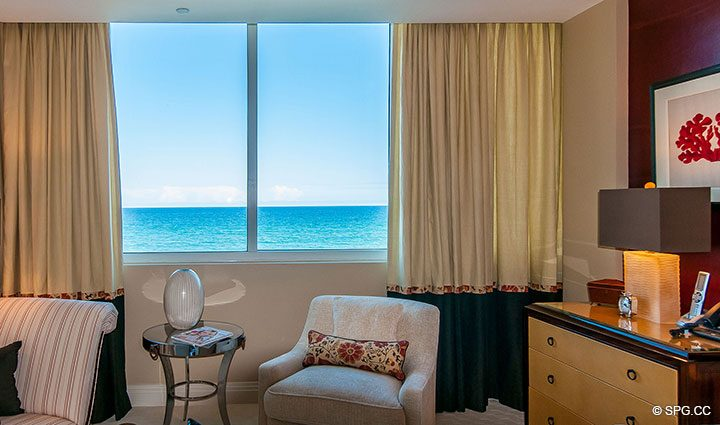 Master Bed Views in Residence 406 at Bellaria, Luxury Oceanfront Condominiums in Palm Beach, Florida 33480.