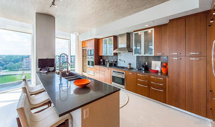 Gourmet Chef's Kitchen in Residence 501 For Sale at 1000 Ocean, Luxury Oceanfront Condos in Boca Raton, Florida 33432.