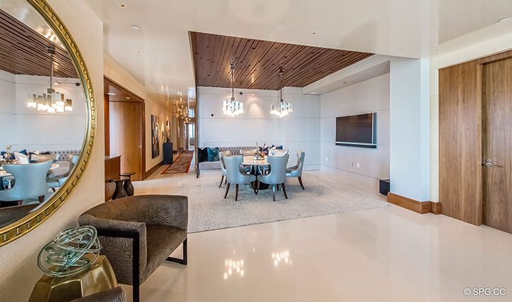 Entrance and Dining Room in Residence 501 For Sale at 1000 Ocean, Luxury Oceanfront Condos in Boca Raton, Florida 33432.