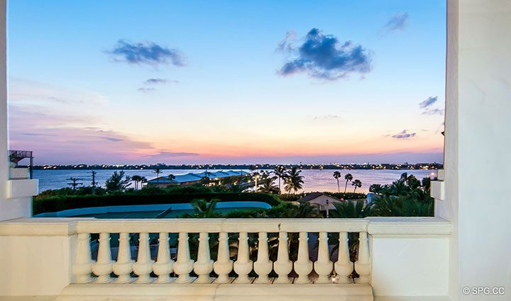 Sunset Views from Residence 406 at Bellaria, Luxury Oceanfront Condominiums in Palm Beach, Florida 33480.