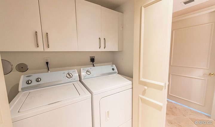 Laundry Area for Residence 6A, Tower II For Sale at The Palms, Luxury Oceanfront Condominiums Fort Lauderdale, Florida 33305