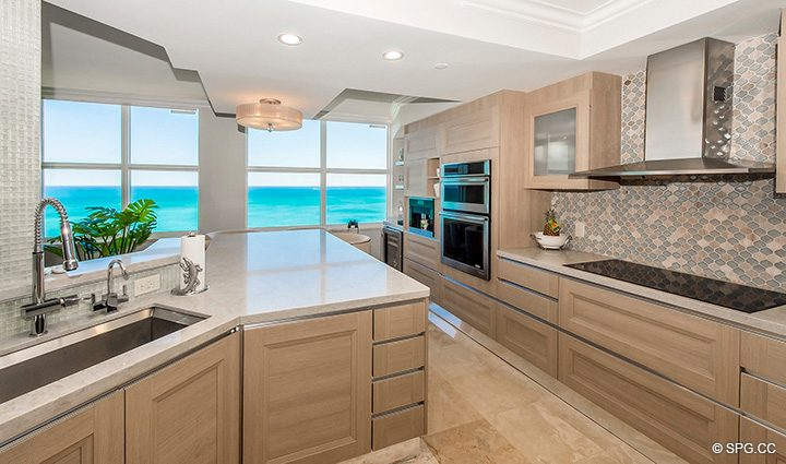 Remodeled Kitchen inside Residence 12B, Tower I at The Palms, Luxury Oceanfront Condominiums Fort Lauderdale, Florida 33305