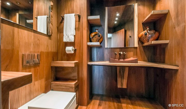 Exotic Wood Powder Room inside Residence 3806 at Portofino Tower, Luxury Waterfront Condominiums in Miami Beach, Florida 33139