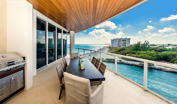 Oversized Terrace for Residence 501 For Sale at 1000 Ocean, Luxury Oceanfront Condos in Boca Raton, Florida 33432.