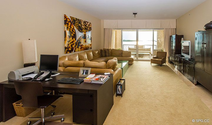 Living Room with Office Space in Luxury Oceanfront Condo Residence 5152 Fisher Island Drive, Miami Beach, FL 33109