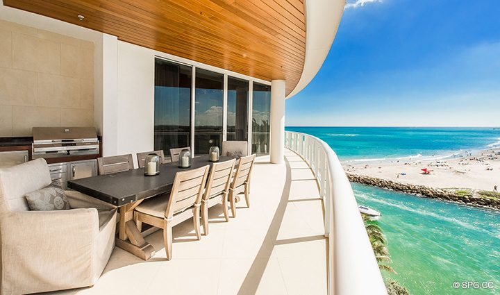 Terrace with Outdoor Kitchen for Residence 501 For Sale at 1000 Ocean, Luxury Oceanfront Condos in Boca Raton, Florida 33432.