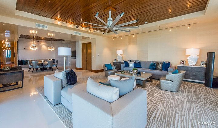 Living Room inside Residence 501 For Sale at 1000 Ocean, Luxury Oceanfront Condos in Boca Raton, Florida 33432.