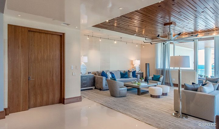 Living Room Terrace Access in Residence 501 For Sale at 1000 Ocean, Luxury Oceanfront Condos in Boca Raton, Florida 33432.