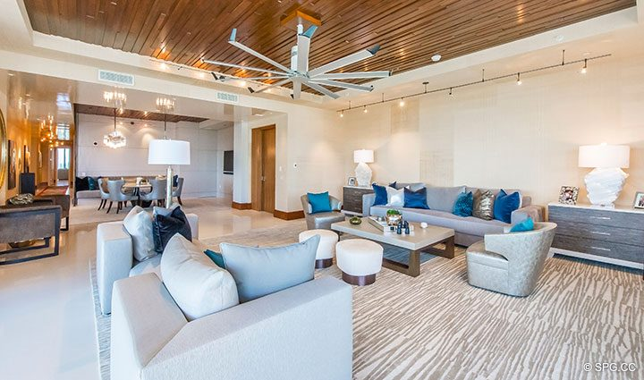living Room in Residence 501 For Sale at 1000 Ocean, Luxury Oceanfront Condos in Boca Raton, Florida 33432.