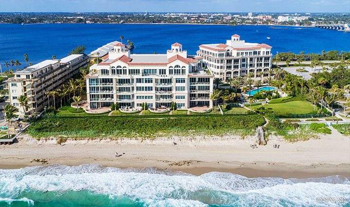 Eastern Aerial View of Residence 406 at Bellaria, Luxury Oceanfront Condominiums in Palm Beach, Florida 33480.
