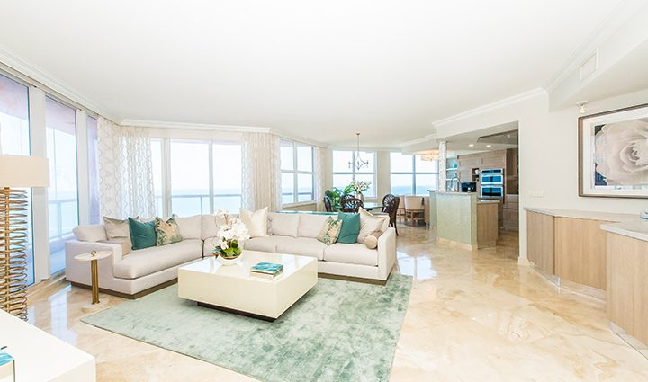 Living Room in Residence 12B, Tower I at The Palms, Luxury Oceanfront Condominiums Fort Lauderdale, Florida 33305