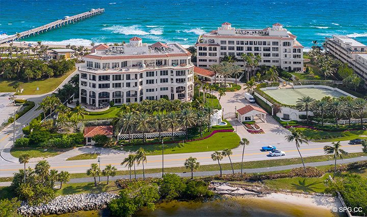 West Side Aerial View of Residence 406 at Bellaria, Luxury Oceanfront Condominiums in Palm Beach, Florida 33480.