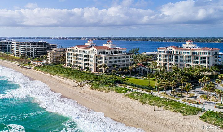 Aerial of Residence 406 at Bellaria, Luxury Oceanfront Condominiums in Palm Beach, Florida 33480.