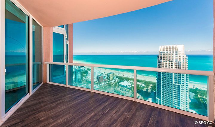 Expansive Eastern Terrace for Residence 3806 at Portofino Tower, Luxury Waterfront Condominiums in Miami Beach, Florida 33139