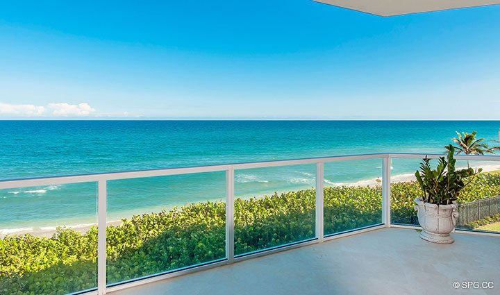 Oceanfront Terrace for Residence 406 at Bellaria, Luxury Oceanfront Condominiums in Palm Beach, Florida 33480.