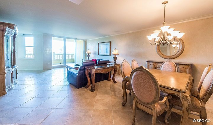 Living and Dining Area in Residence 6A, Tower II For Sale at The Palms, Luxury Oceanfront Condominiums Fort Lauderdale, Florida 33305