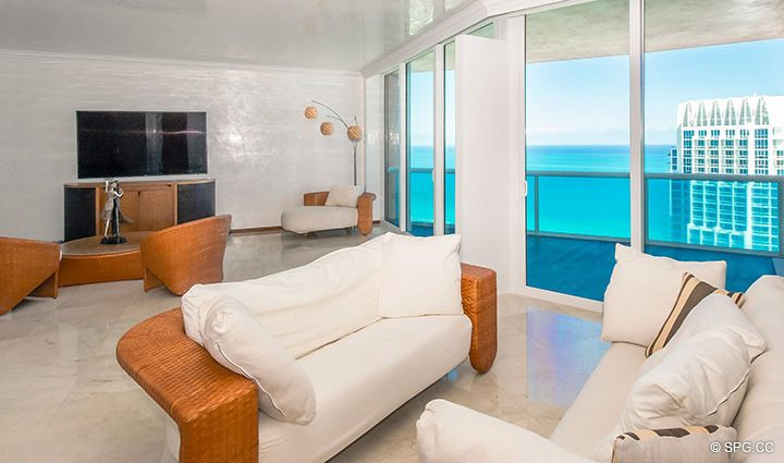 Expanded Living Area in Residence 3806 at Portofino Tower, Luxury Waterfront Condominiums in Miami Beach, Florida 33139