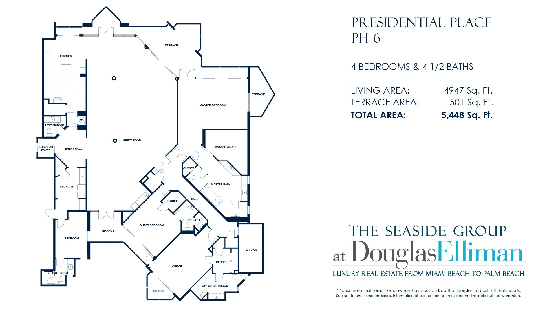Floorplan for Penthouse 6 For Sale at Presidential Place, Boca Raton Florida 33432