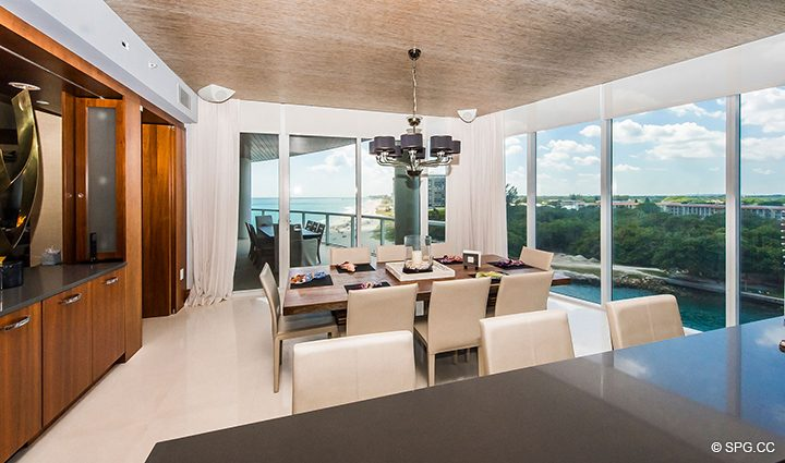 Huge Eat-In Kitchen in Residence 501 For Sale at 1000 Ocean, Luxury Oceanfront Condos in Boca Raton, Florida 33432.