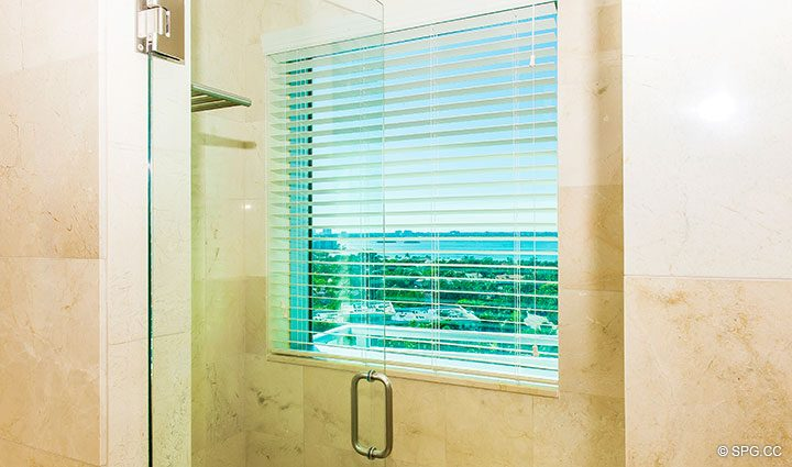 Guest Bath View in Residence 902 For Rent at One Bal Harbour, Luxury Oceanfront Condos in Bal Harbour, Miami, Florida 33154.