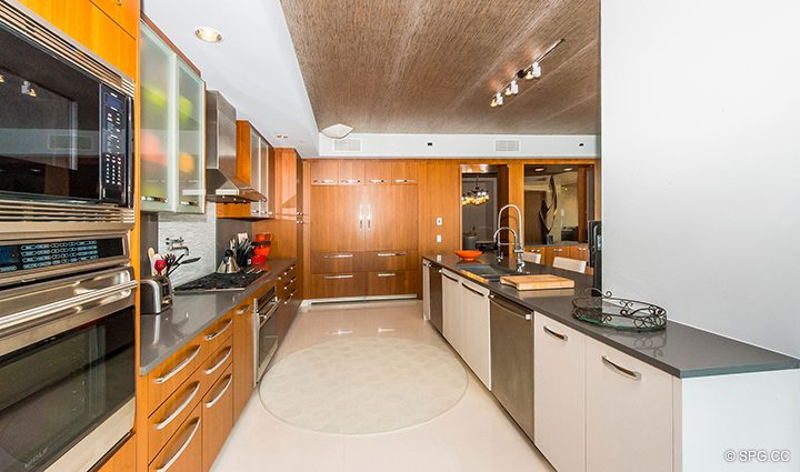 Gourmet Kitchen in Residence 501 For Sale at 1000 Ocean, Luxury Oceanfront Condos in Boca Raton, Florida 33432.