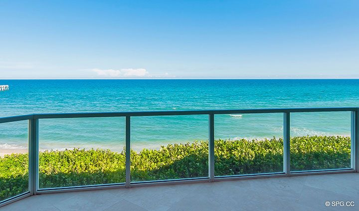 Beachfront Terrace for Residence 406 at Bellaria, Luxury Oceanfront Condominiums in Palm Beach, Florida 33480.