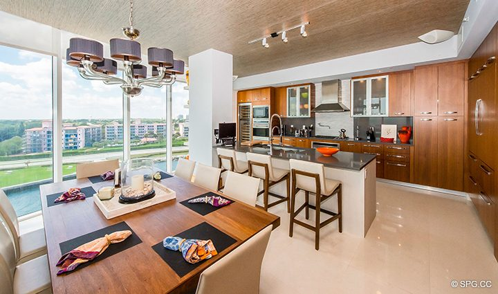 Spectacular Kitchen and Dining Area Residence 501 For Sale at 1000 Ocean, Luxury Oceanfront Condos in Boca Raton, Florida 33432.