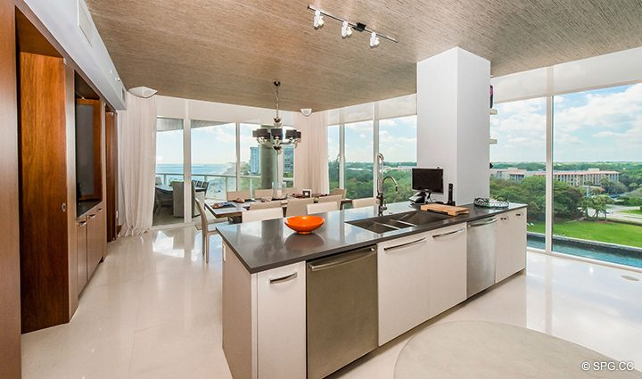 Chef's Kitchen inside Residence 501 For Sale at 1000 Ocean, Luxury Oceanfront Condos in Boca Raton, Florida 33432.