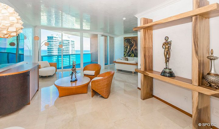 Living Room in Residence 3806 at Portofino Tower, Luxury Waterfront Condominiums in Miami Beach, Florida 33139
