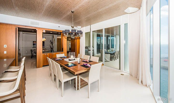 Dining Area inside Residence 501 For Sale at 1000 Ocean, Luxury Oceanfront Condos in Boca Raton, Florida 33432.