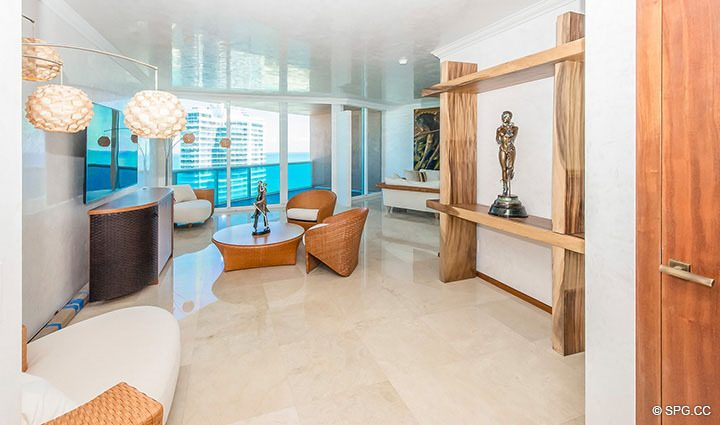 Large Expanded Living Room in Residence 3806 at Portofino Tower, Luxury Waterfront Condominiums in Miami Beach, Florida 33139