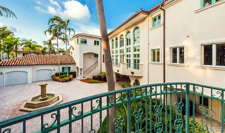 Balcony View of Grounds at Estate Home 709 Idlewyld Drive, Fort Lauderdale, Florida 33301