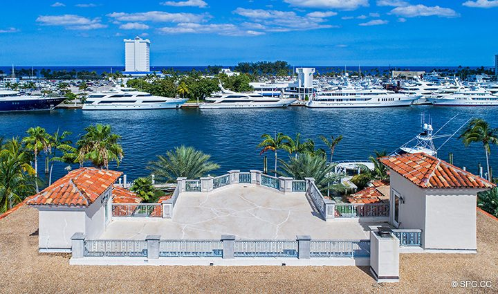 Aerial View of Roof Terrace at Estate Home 709 Idlewyld Drive, Fort Lauderdale, Florida 33301