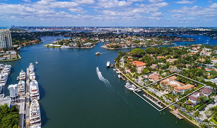 Southern Aerial View of Estate Home 709 Idlewyld Drive, Fort Lauderdale, Florida 33301