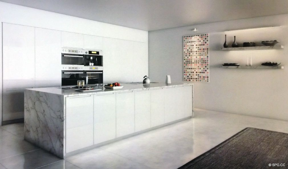 Kitchen at 321 Ocean, Luxury Oceanfront Condominiums Located at 321 Ocean Drive, Miami Beach, FL 33139