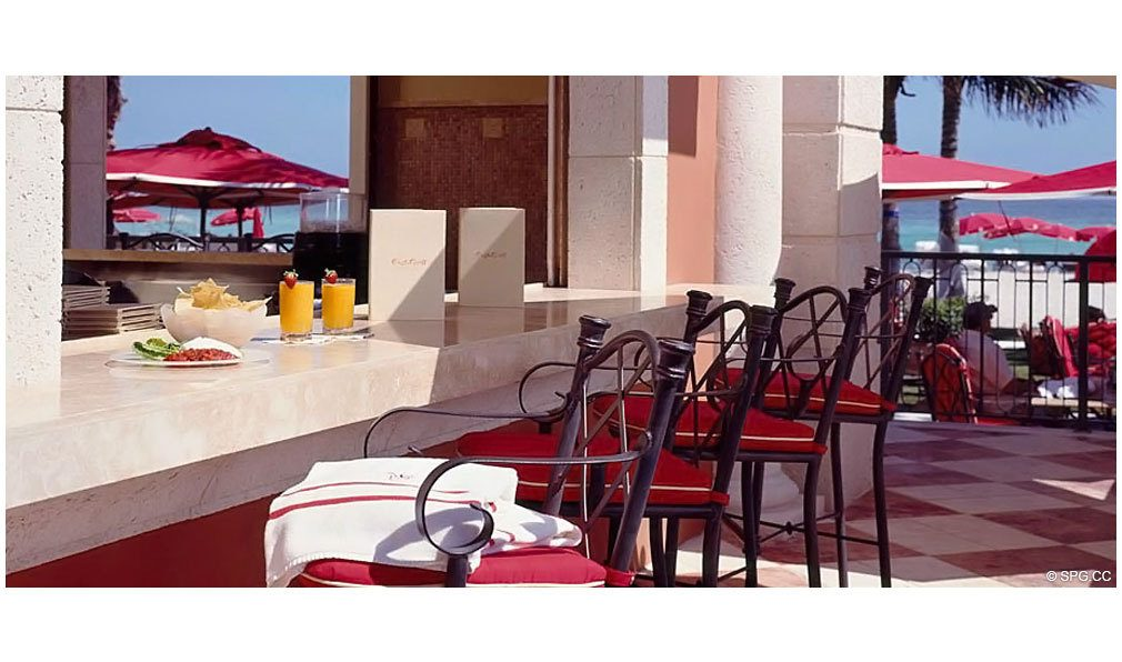 Outside Dining and Bar at Acqualina, Luxury Oceanfront Condominiums Located at 17885 Collins Avenue, Sunny Isles Beach, FL 33160