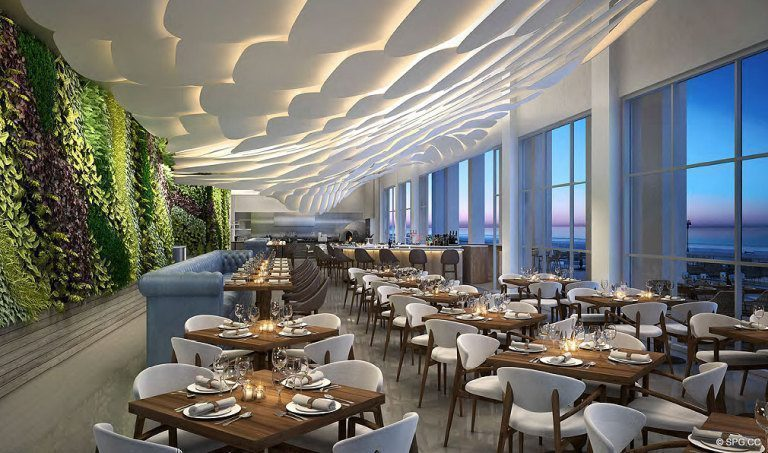Dining at the Conrad, Luxury Oceanfront Condominiums Located at 551 North Fort Lauderdale Beach Blvd, Fort Lauderdale, FL 33304