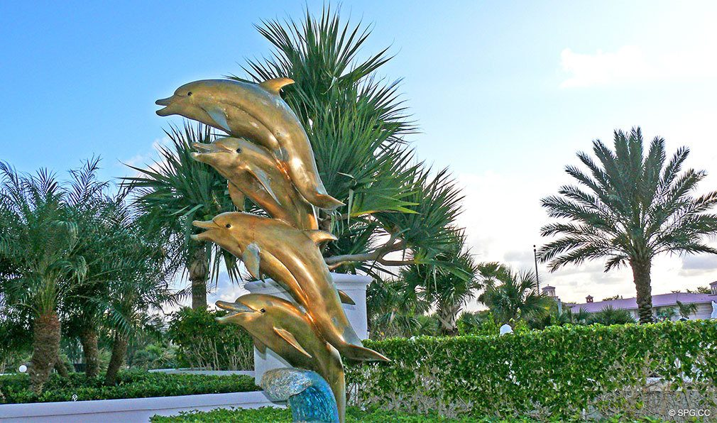 Dolphin Statue at L'Ambiance, Luxury Oceanfront Condominiums Located at 4240 Galt Ocean Dr, Ft Lauderdale, FL 33308
