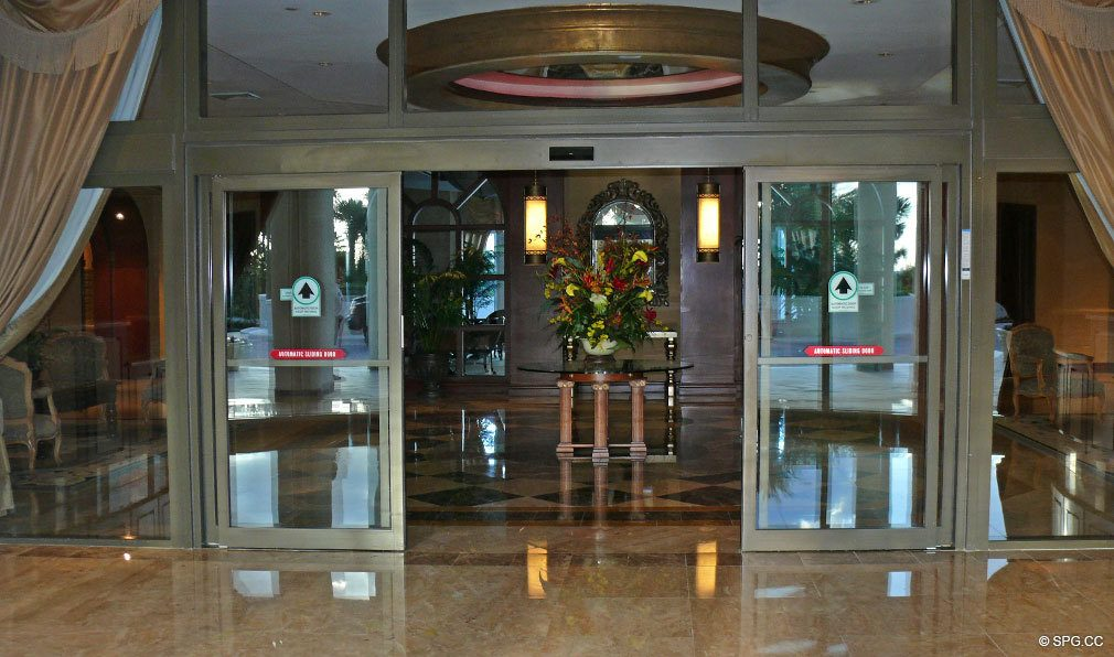 Lobby Entrance at L'Ambiance, Luxury Oceanfront Condominiums Located at 4240 Galt Ocean Dr, Ft Lauderdale, FL 33308