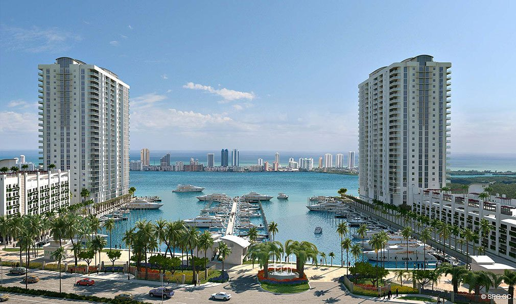 View of Marina Palms Yacht Club, Luxury Waterfront Condominiums Located at 17201 Biscayne Blvd, North Miami Beach, FL 33160