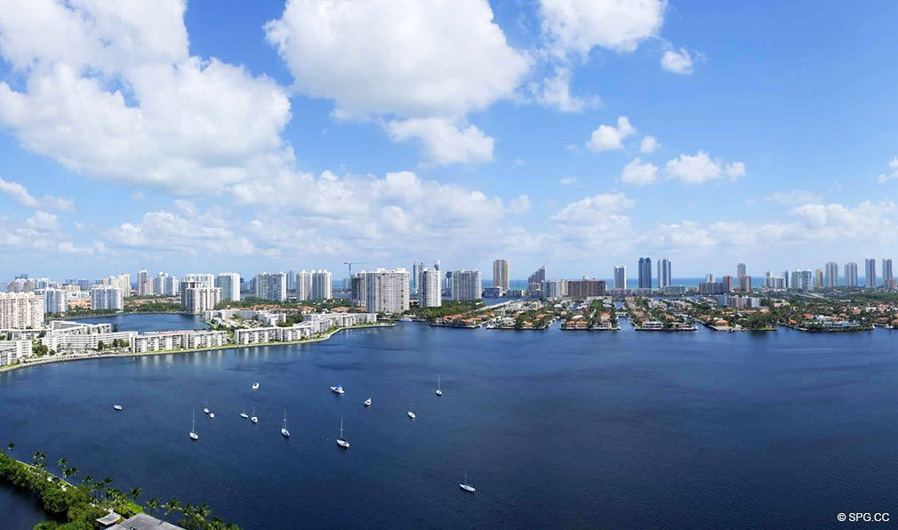 Water Views from Marina Palms Yacht Club, Luxury Waterfront Condominiums Located at 17201 Biscayne Blvd, North Miami Beach, FL 33160