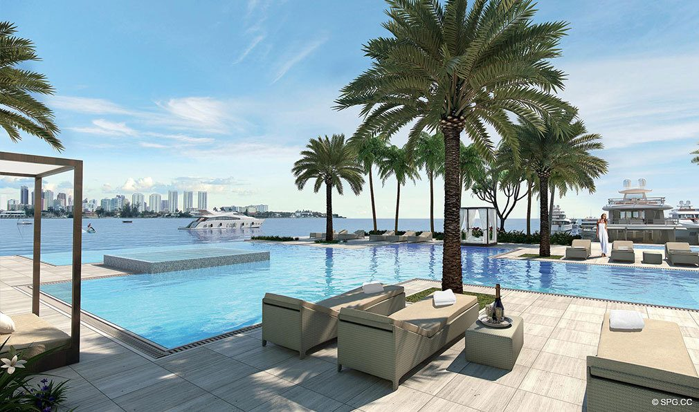 Marina Palms Yacht Club Pool Deck, Luxury Waterfront Condominiums Located at 17201 Biscayne Blvd, North Miami Beach, FL 33160
