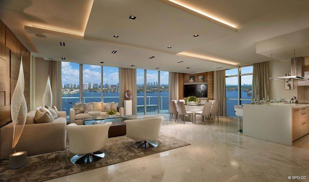Living Room at Marina Palms Yacht Club, Luxury Waterfront Condominiums Located at 17201 Biscayne Blvd, North Miami Beach, FL 33160